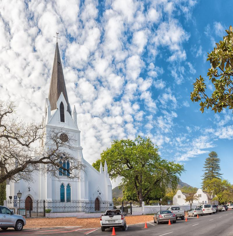 Free Street Scene With The Dutch Reformed Mother Church In Stellenbosch Royalty Free Stock Images - 130022699