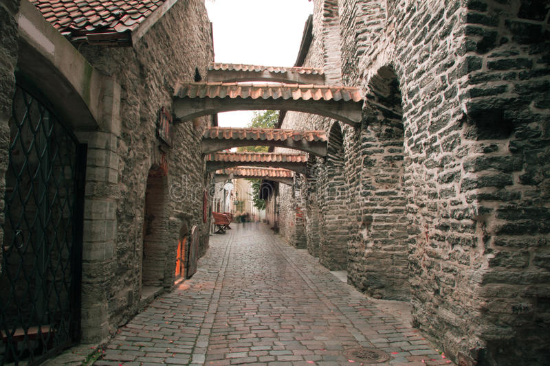 Street scenery and landscape in a mystical world. Haunted streets of Tallinn. street scenery and landscape in a mystical world royalty free stock photos