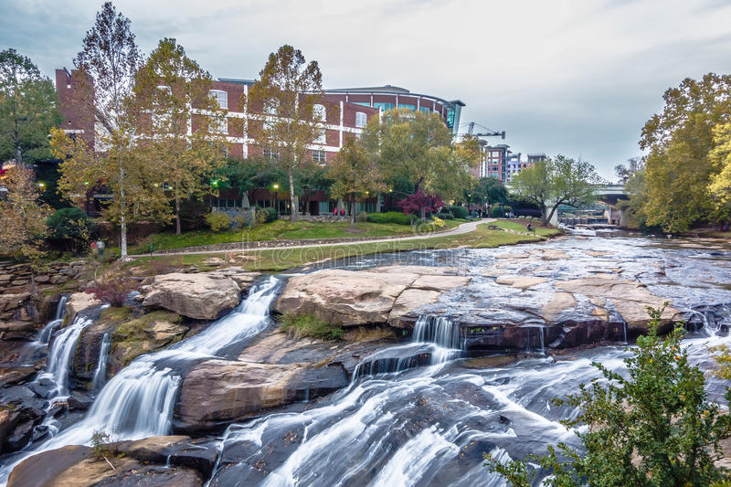 Street scenes around falls park in greenville south carolina stock image