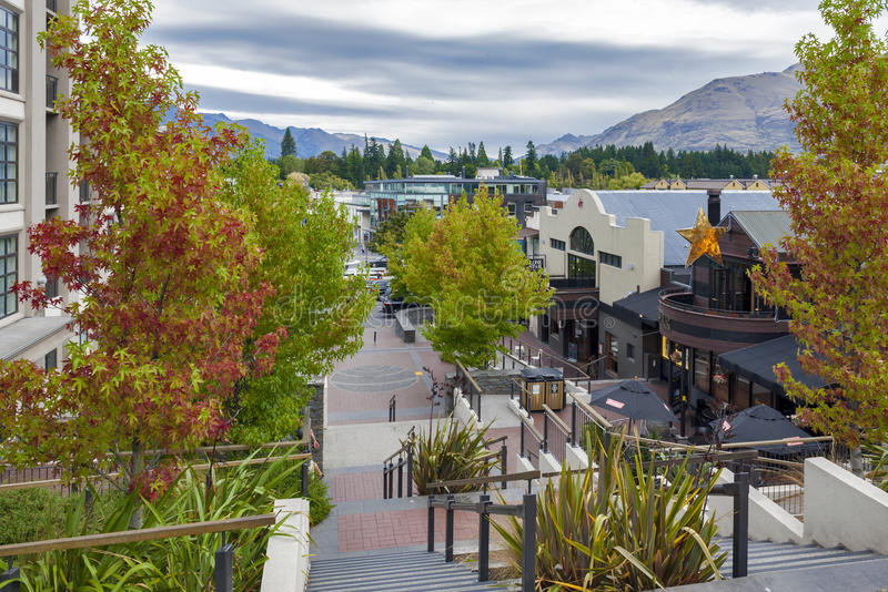 Street scenes and business district of Queenstown, south island of New Zealand royalty free stock photos