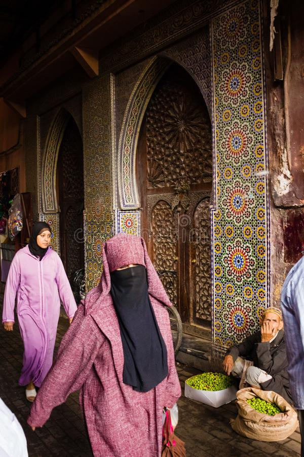 Picturesque corner. Street scene. Marrakesh. Morocco royalty free stock image