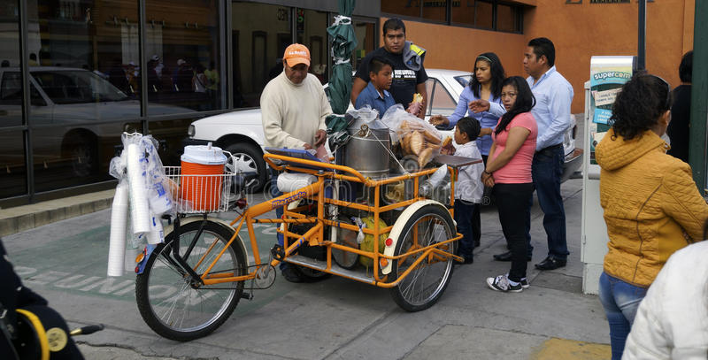 Street seller mexican tamales on a bike stock photography