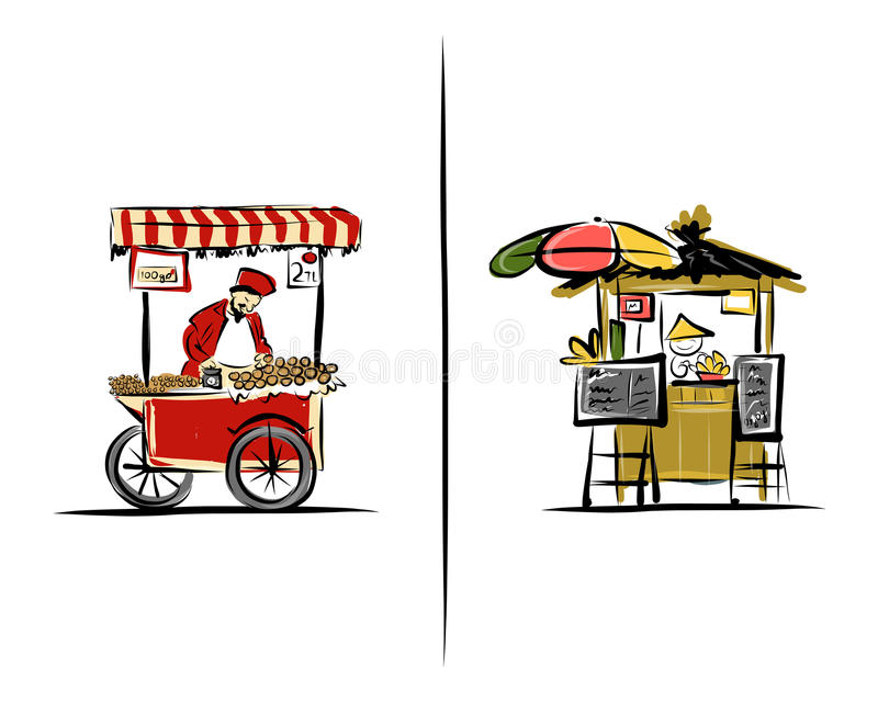 Street sellers, sketch for your design. Illustration about Turkey and Thailand. Vector vector illustration