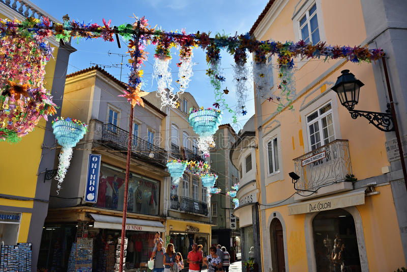 Street in Setubal, Portugal. Setubal, Portugal - June 05, 2017: Decorated street in city of Setubal. Situbal is the important center of Portugal`s fishing royalty free stock photography
