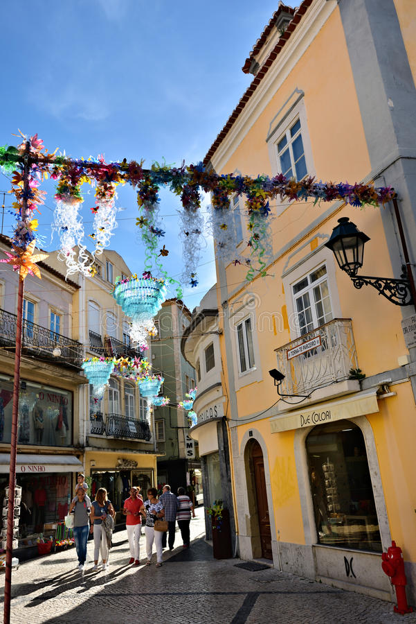 Street in Setubal, Portugal. Setubal, Portugal - June 05, 2017: Decorated street in city of Setubal. Situbal is the important center of Portugal`s fishing stock photos