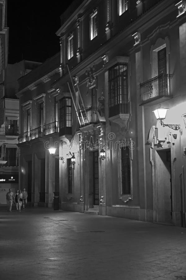 Old Town, Seville, Spain at night in Monochrome stock images