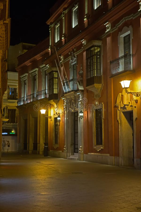 Old Town, Seville, Spain at night stock photos