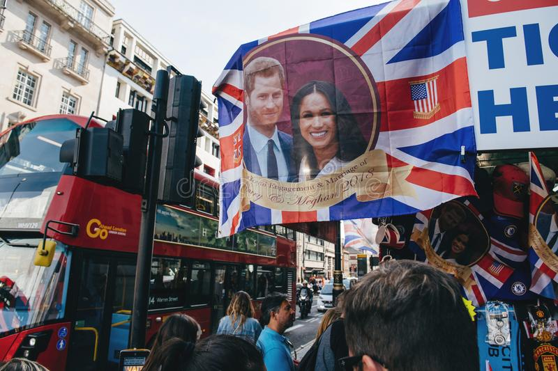 Street shop selling souvenir memorabilia royal wedding bus station stock images