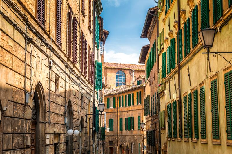 Street of Siena town, an ancient city in the Tuscany region royalty free stock photo