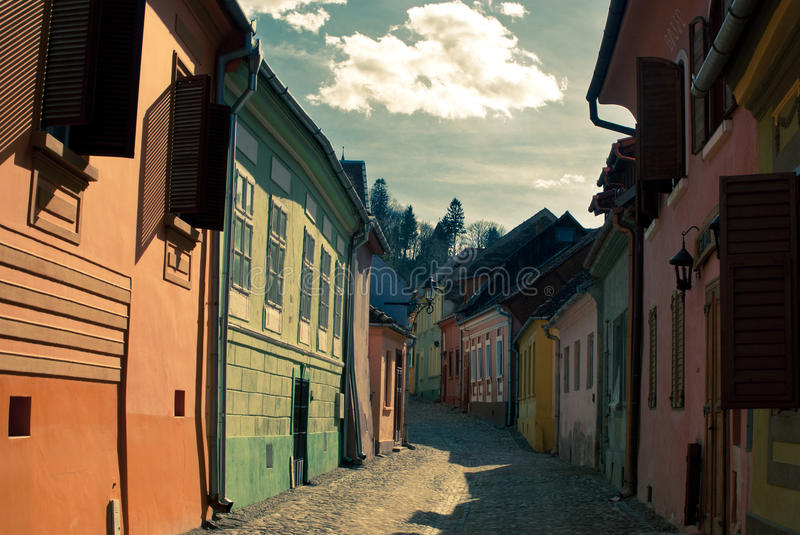 Street from Sighisoara stock images