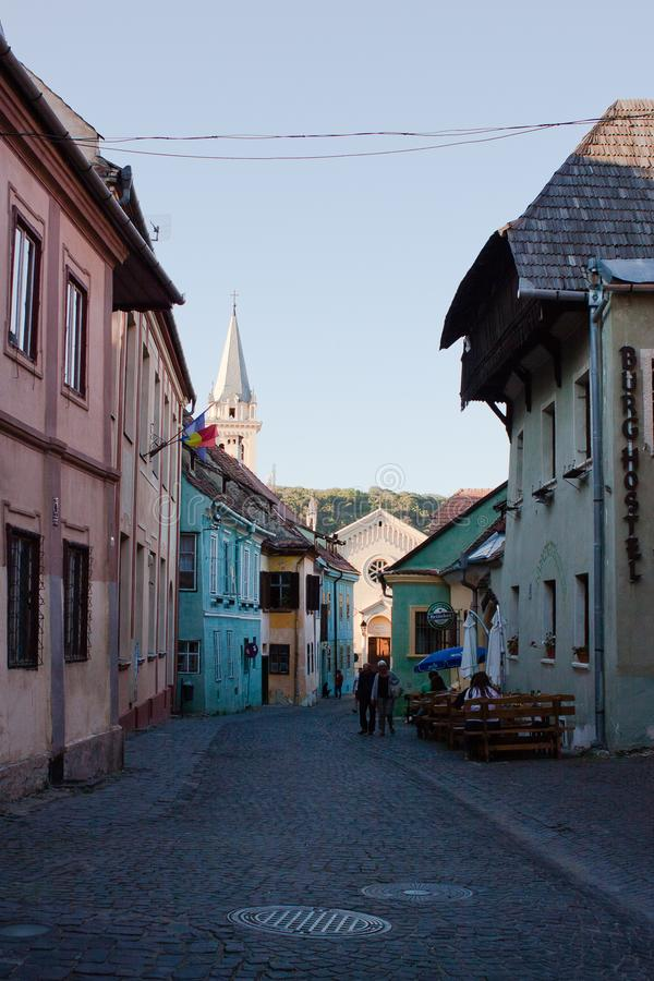 Street in Sighisoara in Romania royalty free stock photography