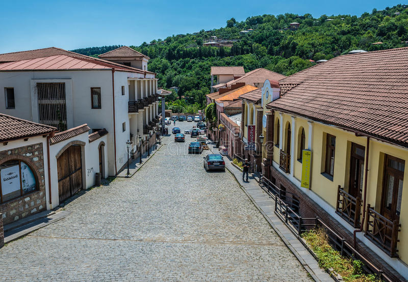 Street in Sighnaghi. Sighnaghi, Georgia - July 19, 2015. Street in Sighnaghi, small town in Kakheti district of Georgia royalty free stock photos