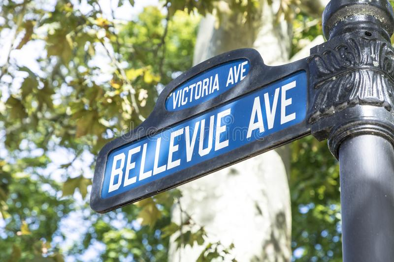 Street sign Bellevue ave, the famous avenue with the historic ma. Street sign Bellevue avenue, the famous avenue with the historic manisons and the cliff walk stock photo