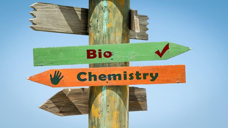 Street Sign Bio versus Chemistry royalty free illustration