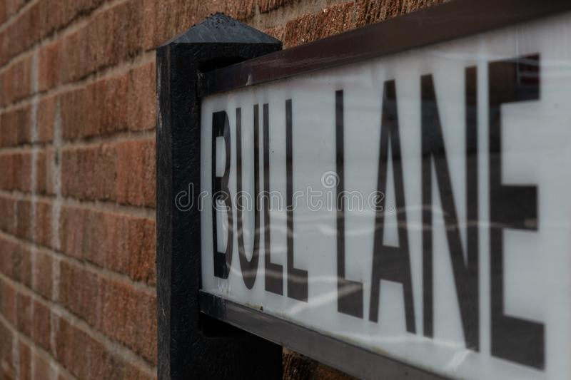 Street sign in Bristol detailed shot with large letters. Detailed shot of street sign in Bristol with large bold letters in a frame royalty free stock images