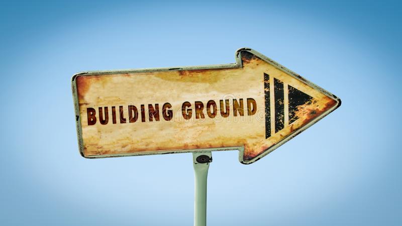 Street Sign BUILDING GROUND. Street Sign the Direction Way to BUILDING GROUND vector illustration