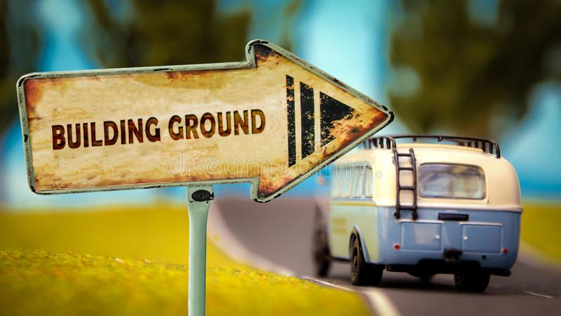 Street Sign BUILDING GROUND. Street Sign the Direction Way to BUILDING GROUND stock illustration