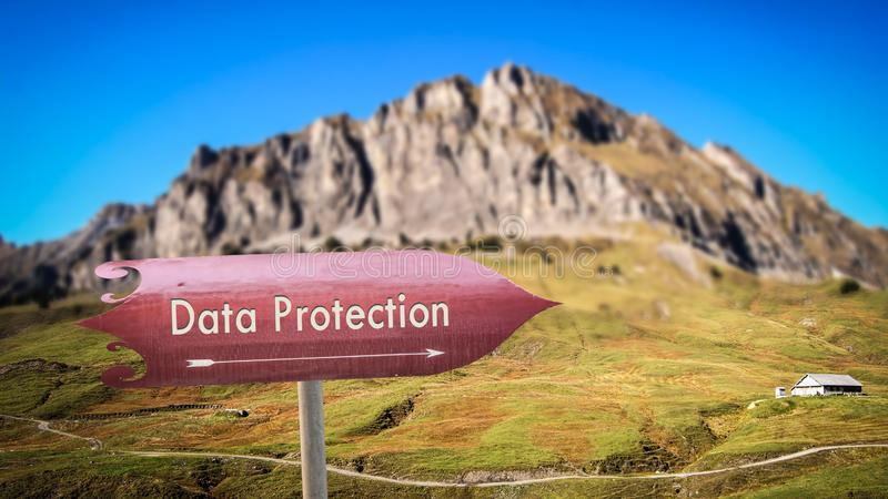 Street Sign DATA PROTECTION. Street Sign the Direction Way to DATA PROTECTION royalty free stock photo