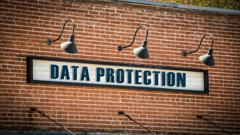 Street Sign DATA PROTECTION. Street Sign the Direction Way to DATA PROTECTION stock image