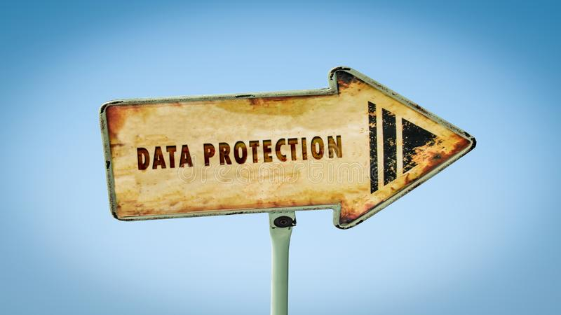 Street Sign DATA PROTECTION. Street Sign to DATA PROTECTION royalty free stock image