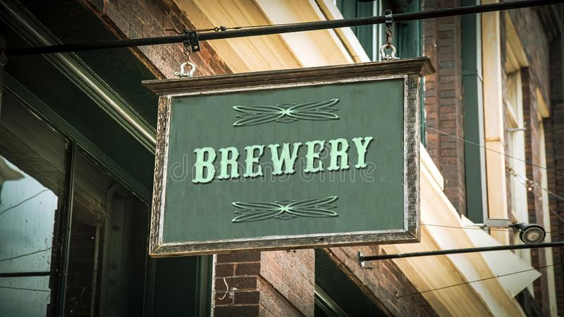Street Sign to Brewery. Street Sign the Direction Way to Brewery royalty free stock photos