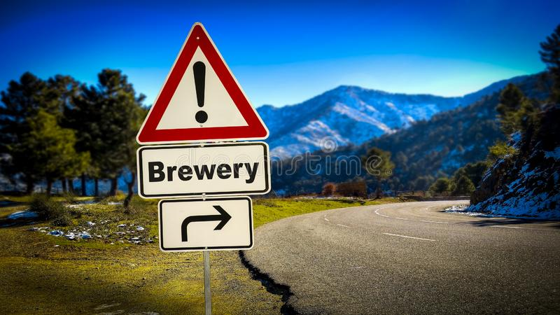 Street Sign to Brewery. Street Sign the Direction Way to Brewery stock photography