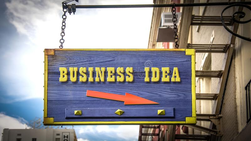 Street Sign to Business Idea. Street Sign the Direction Way to Business Idea stock image