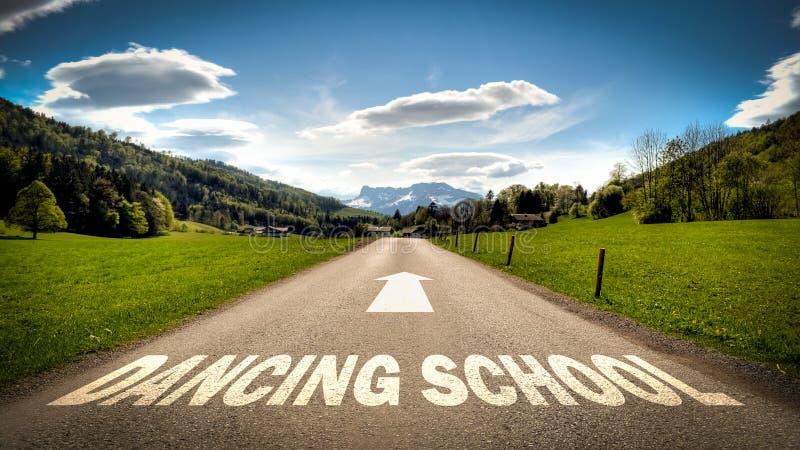 Street Sign to DANCING SCHOOL. Street Sign the Direction Way to DANCING SCHOOL stock photo