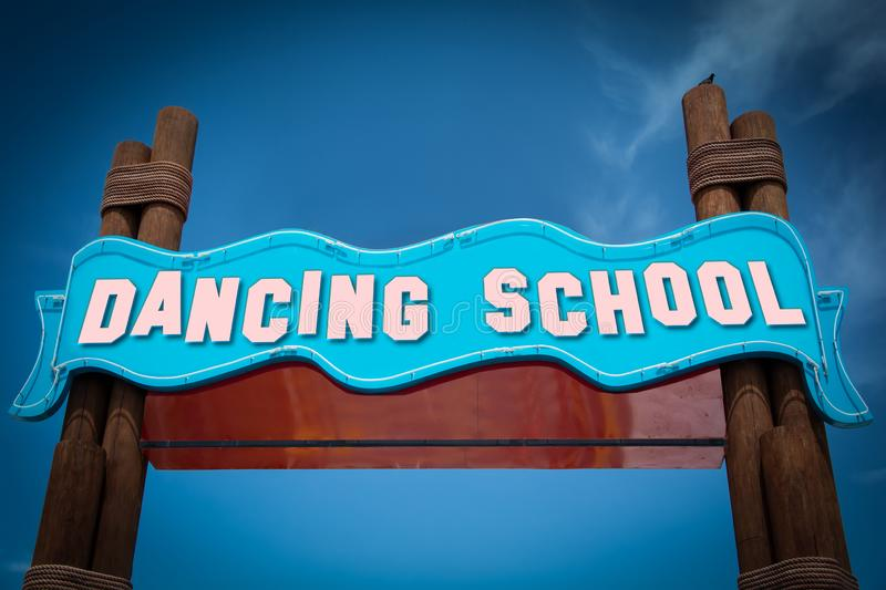 Street Sign to DANCING SCHOOL. Street Sign the Direction Way to DANCING SCHOOL royalty free stock photos