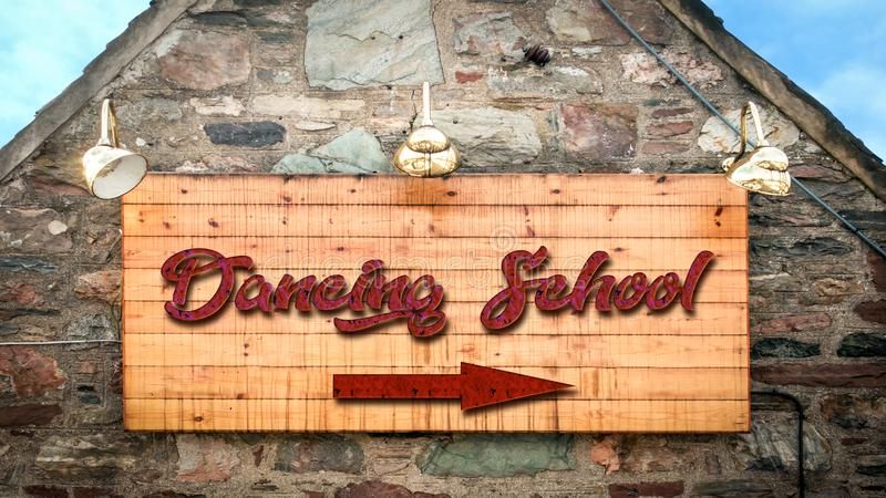 Street Sign to DANCING SCHOOL. Street Sign the Direction Way to DANCING SCHOOL stock images