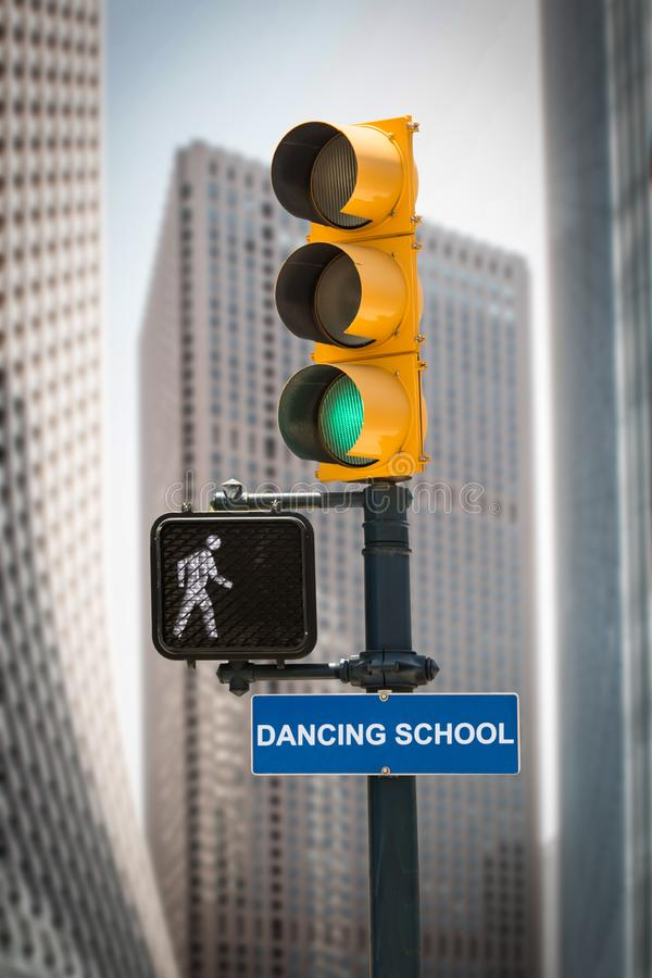 Street Sign to DANCING SCHOOL. Street Sign the Direction Way to DANCING SCHOOL royalty free stock photo