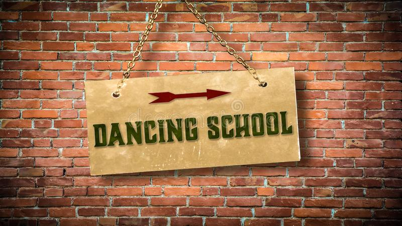 Street Sign to DANCING SCHOOL. Street Sign the Direction Way to DANCING SCHOOL royalty free stock image