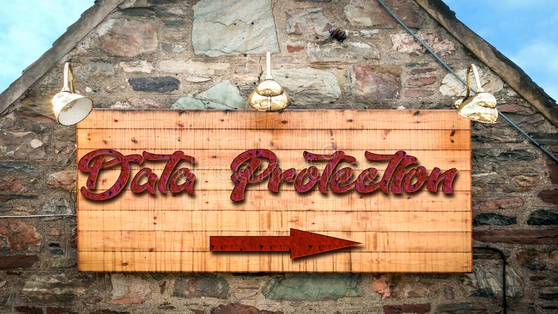 Street Sign DATA PROTECTION. Street Sign the Direction Way to DATA PROTECTION royalty free stock photos