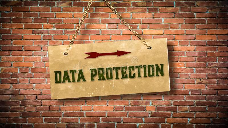 Street Sign DATA PROTECTION. Street Sign the Direction Way to DATA PROTECTION stock photos
