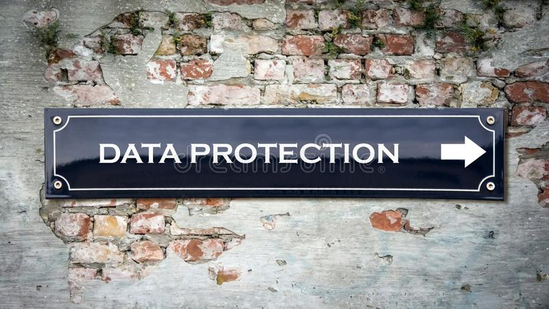 Street Sign DATA PROTECTION. Street Sign the Direction Way to DATA PROTECTION royalty free stock photography