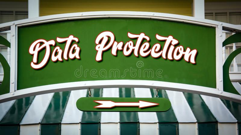 Street Sign DATA PROTECTION. Street Sign the Direction Way to DATA PROTECTION stock photography