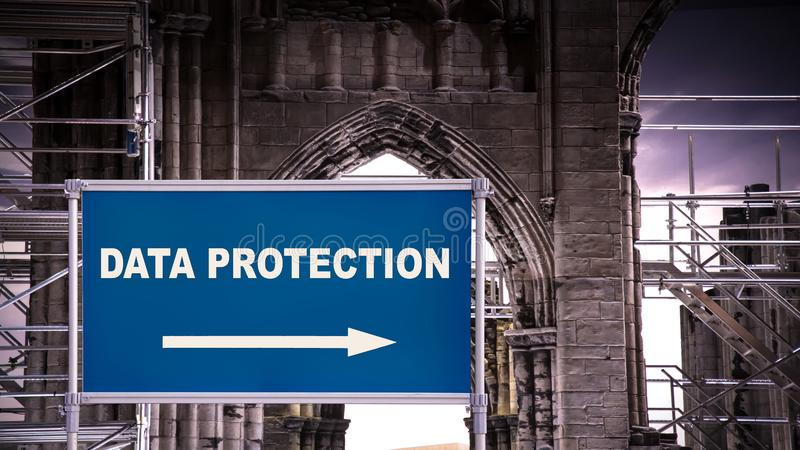 Street Sign DATA PROTECTION. Street Sign the Direction Way to DATA PROTECTION stock illustration