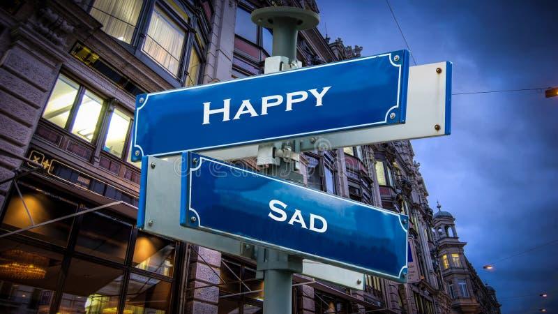 Street Sign to Happy versus Sad. Street Sign the Direction Way to Happy versus Sad stock image