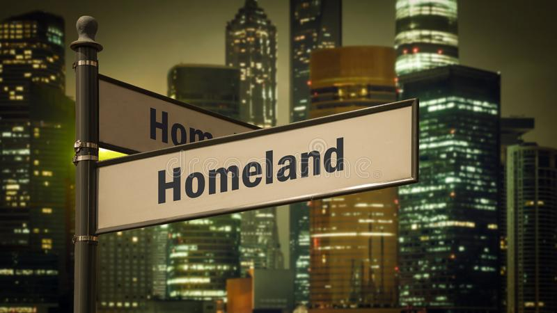 Street Sign to Homeland. Street Sign the Direction Way to Homeland royalty free stock photos