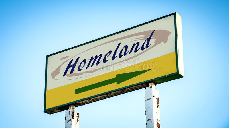 Street Sign to Homeland. Street Sign the Direction Way to Homeland royalty free stock photo