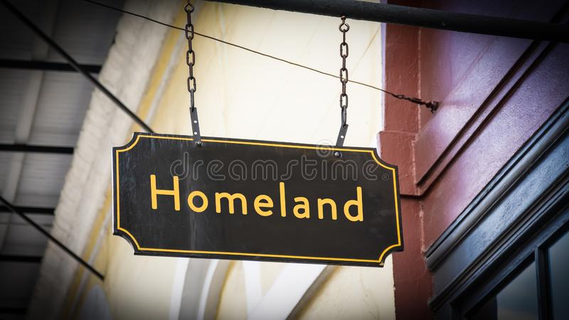 Street Sign to Homeland. Street Sign the Direction Way to Homeland royalty free stock photography