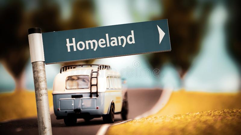Street Sign to Homeland. Street Sign the Direction Way to Homeland stock photos