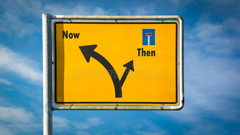 Street Sign Now versus Then. Street Sign the Direction Way to Now versus Then royalty free stock photos