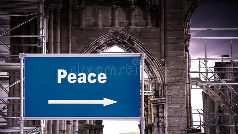 Street Sign to Peace. Street Sign the Direction Way to Peace royalty free stock image