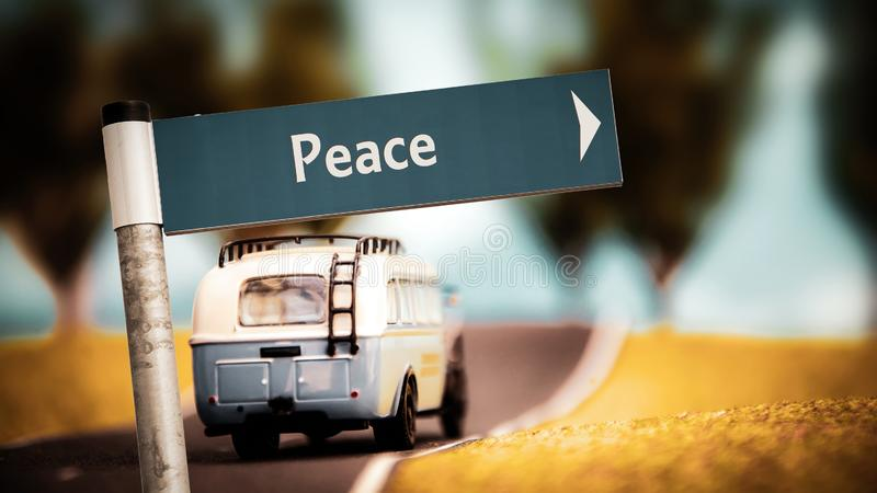Street Sign to Peace. Street Sign the Direction Way to Peace stock image