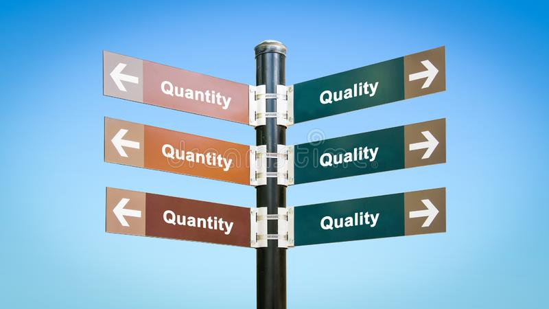 Street Sign to Quality versus Quantity vector illustration