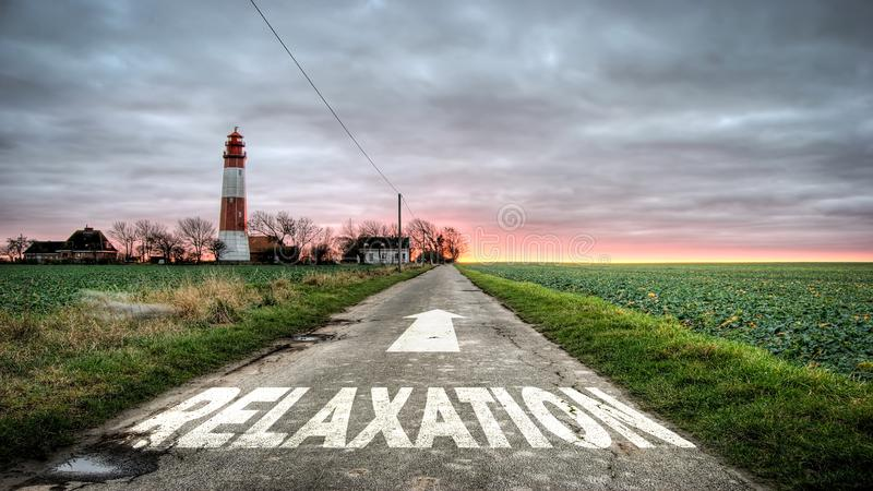 Street Sign to Relaxation. Street Sign the Direction Way to Relaxation stock photo