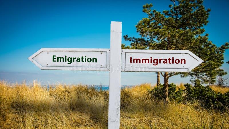 Street Sign Emigration versus Immigration stock images