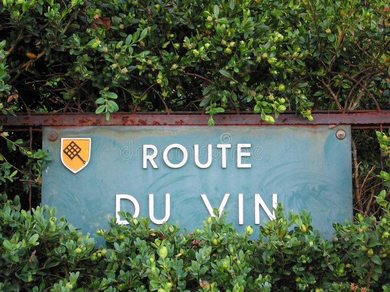 Street sign of the famous french wines road royalty free stock photos