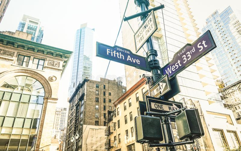 Street sign of Fifth Ave and West 33rd St in New York City - Manhattan. Street sign of Fifth Ave and West 33rd St in New York City - Urban concept and road royalty free stock photography